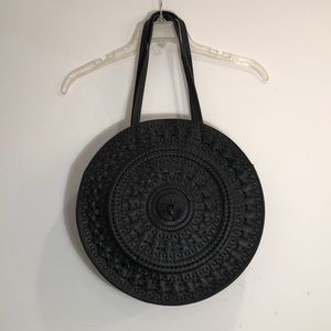 Round Black Anthropologie Handbag, NWT